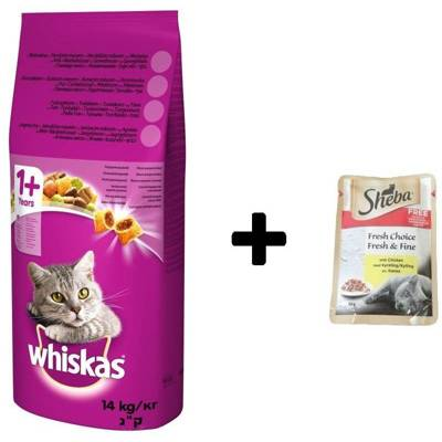 WHISKAS Adult hovězí 14 kg + SHEBA Fresh & Fine Chicken 50g ZDARMA!!!