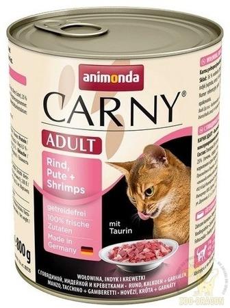 Animonda Cat Carny Adult příchuť: hovězí maso, krůta a krevety 800g